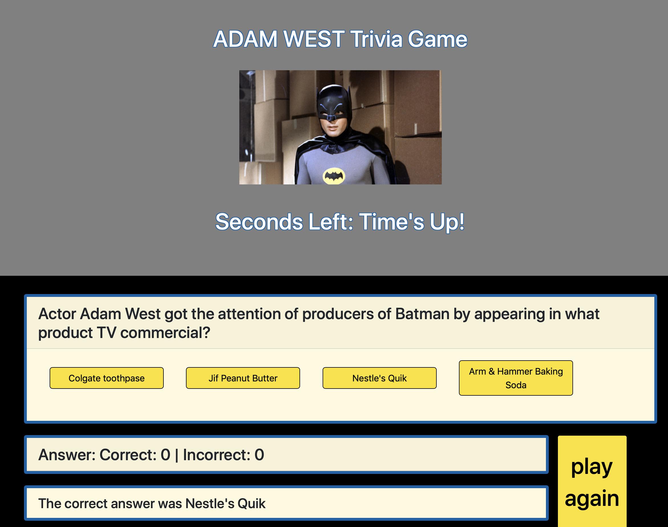 Adam West Trivia Game