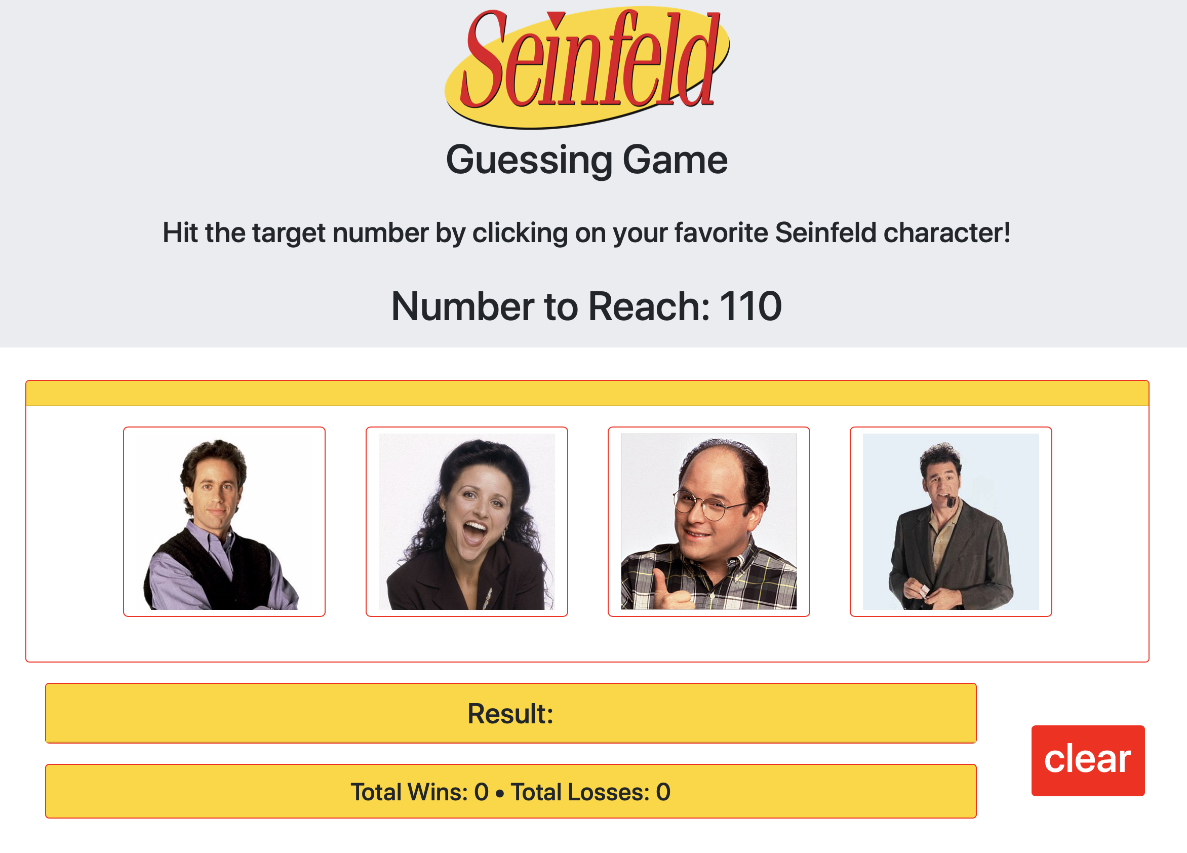 Seinfeld Number Guessing Game