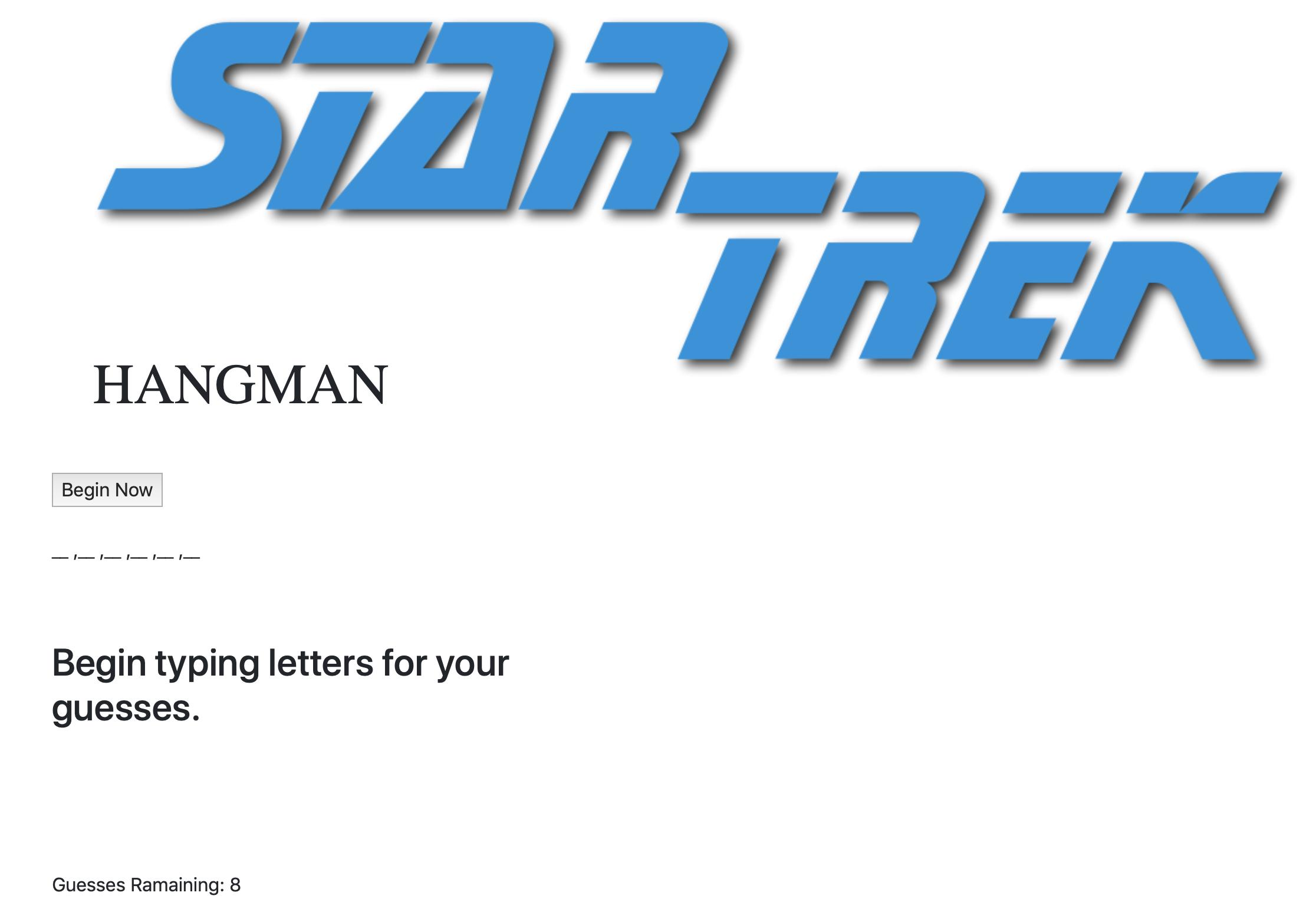 Star Trek Hangman Game